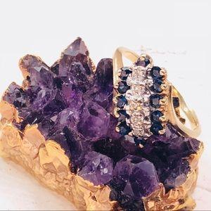 Jewelry - Vintage 10k Gold Diamond Sapphire Cocktail Ring